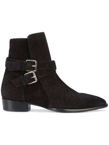 Amiri Buckle Detail Ankle Boots Leather Suede Black W3PdMPUwK