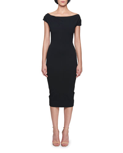 Victoria Beckham Off The Shoulder Knee Length Jersey Sheath Dress Black ezRU9cj