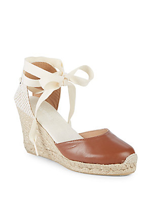 Soludos Leather Wedge Espadrilles Tan jsGiDp