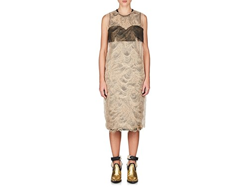 Maison Martin Margiela Layered Reverse Brocade Sheath Dress Black msCbPAYX