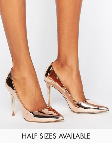Asos Peru Pointed High Heels Nude Metallic Gold 0RYa6fp