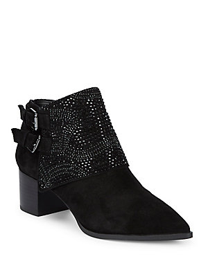 Karl Lagerfeld Asasha Studded Suede Booties Black sOwyIbh