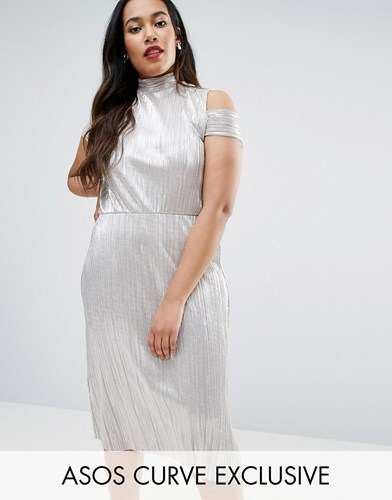 Asos Curve Shimmer Plisse Pleated Midi Dress With Cold Shoulder Gold MW7pBg9