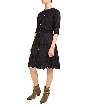 The Kooples Pleated Embroidered Lace Detail Dress Black Z3Qk3