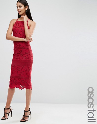 Tall Raspberry Scallop Red Midi Floral Asos Dress Lace 6OnYdd