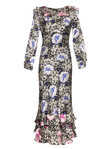 Duro Olowu Zanzibar Flower Print Silk Satin Dress White Multi Ra5CuXC4n