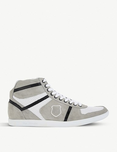 The Kooples Leather And Suede High Top Trainers White rsXEPKYf