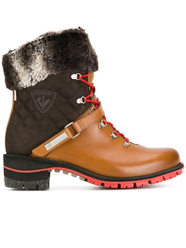 Rossignol Megeve Laced Boots Cotton Leather Rabbit Fur Rubber Brown 21sbjQwws