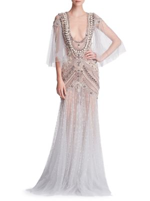 Embellished Tulle Pearl Embellished Gown Marchesa Gown Tulle Marchesa BRv8IIq