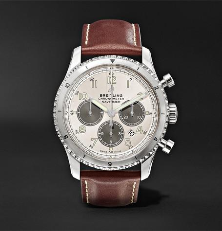 Navitimer 8 B01 Chronograph 43Mm Stainless Steel And Leather Watch White
