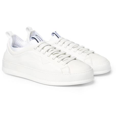 Z Zegna Imperia Leather Slip On Sneakers White a1udMRa