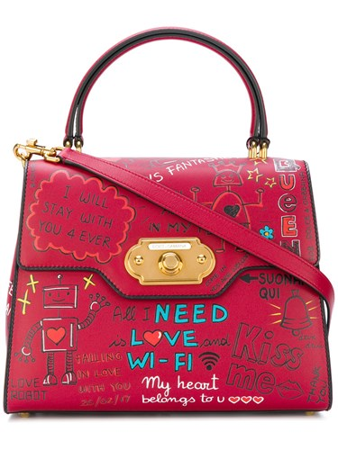 amp; Tote Dolce Red Leather Welcome Gabbana AddFnq7