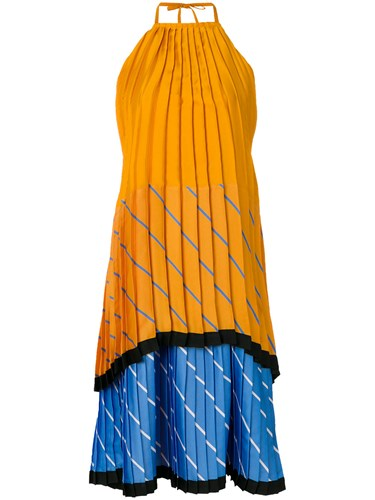 Orange Dress Colour Block Pleated Tiered Beckham Yellow Victoria And qfw87