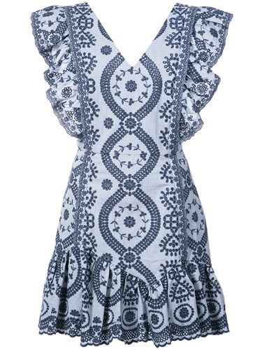 Love Shack Fancy Floral Embroidered Ruffle Trim Dress Blue AcFhVi