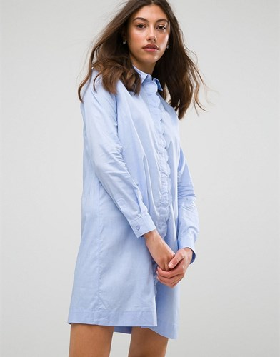 Pieces Shelby Shirt Dress Blue AVOpxtOQNC