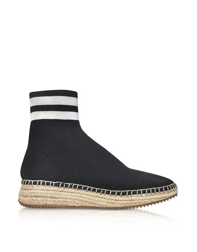 Alexander Wang Shoes Dylan Black And White Knit High Top Sneakers W Jute Sole Gbb0V