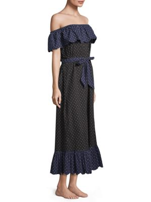 Marysia Polka Dot Off The Shoulder Dress Black Mirt Mu56U3
