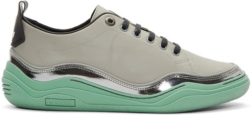 Lanvin Grey And Green Contrast Sneakers xPdAaU