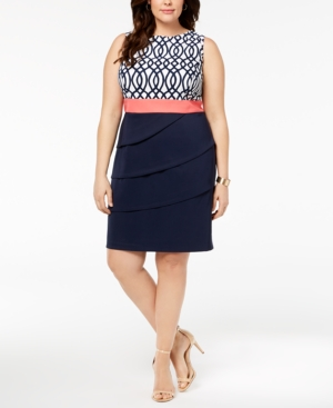 Connected Plus Size Printed And Tiered Sheath Dress Navy Coral UUlYR1H