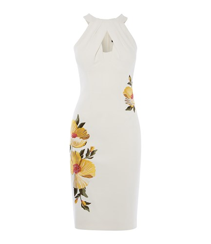 Karen Millen Floral Pencil Dress Cream CyPoWeF3