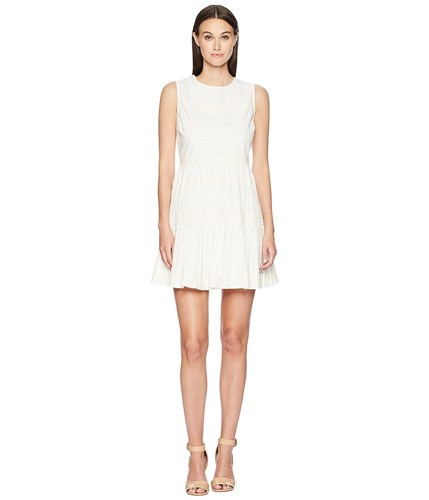 RED Valentino Cotton Poplin Dress With Zagana Ribbon And Boules Latte Brown amPkgtcL99