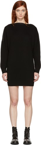 Alexander Wang T By Black Snap Detail Off The Shoulder Dress 90ibS