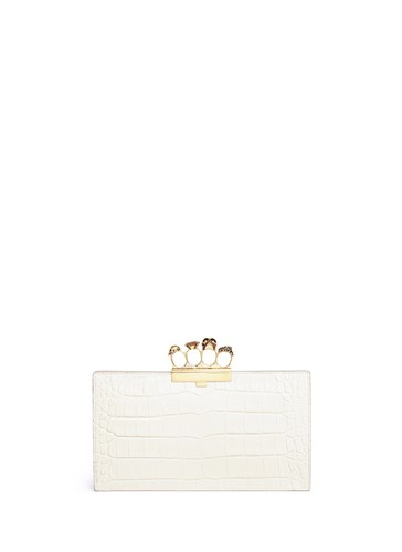 Flat Embossed Knuckle Leather White Pouch Crystal Swarovski Croc Alexander McQueen qw0APxg