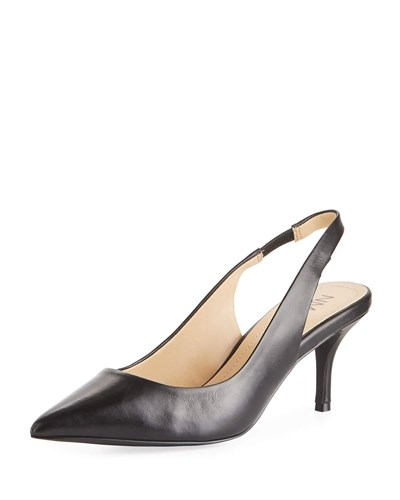 Albany Marcus Black Leather Slingback Neiman Pump FTSw8nq