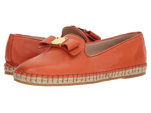 Cole Haan Tali Bow Espadrille Koi Leather Shoes Coral zz8S9p0