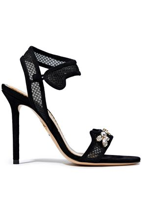 Charlotte Olympia Crystal Embellished Suede And Mesh Sandals Black 0ZdYEB9kYb