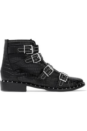 Schutz Darcey Buckled Croc Effect Leather Ankle Boots Black Fa70tjk