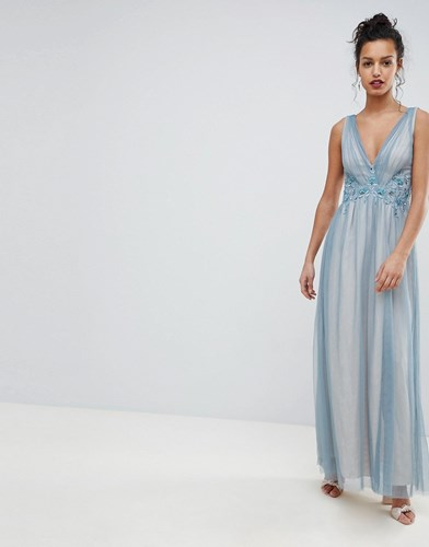 Little Mistress Full Tulle Maxi Dress With Embroidery Dusty Blue CbU5DHq