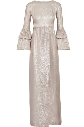 Ruffled Trimmed Silk Blend Lame Gown Gold