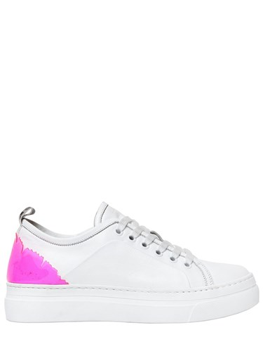 MSGM 20Mm Leather And Plexi Sneakers White Pink v2Sqh