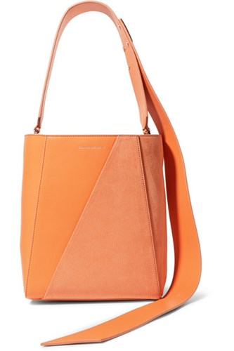 Calvin Klein 205W39nyc Buck Stripe Small Leather And Suede Shoulder Bag Orange T5jx0