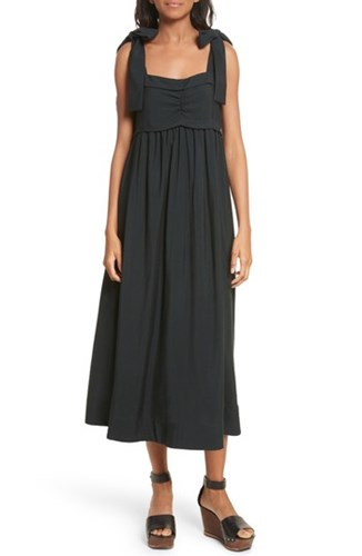 See by Chloe Tie Strap Midi Dress Opaque Brown 1W235O