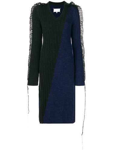 Maison Martin Margiela Contrast Knitted Midi Dress Blue 2wWjG