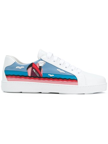 Prada Cruise Motif Sneakers Leather Rubber White sK3cnK61t
