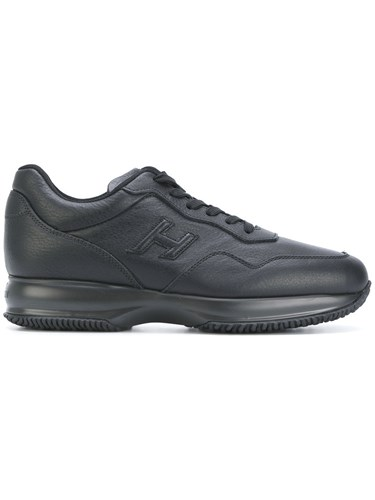 Hogan Interactive Sneakers Men Leather Polyester Rubber 6.5 Black 9g6eYX