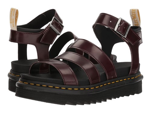 Dr. Martens Vegan Blaire Cherry Red Cambridge Brush Black Soft Pu Sandals BPS5pxLNPa