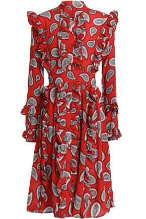 Dodo Bar Or Ruffle Trimmed Printed Silk Crepe De Chine Dress Red X898Hb