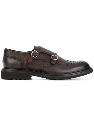 Dell'Oglio Cross Strap Monk Shoes Leather Rubber Brown gHTuPX9