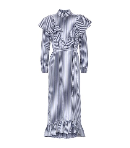 Mother of Pearl Penelope Frilled Midi Dress Navy G8sGcD4
