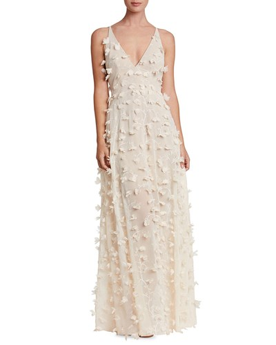 Dress the Population Fleur Plunge Neck Gown With Floral Appliques Cream wihseM0ZM