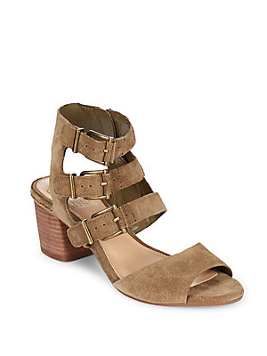 Vince Camuto Geriann Leather Midheel Sandals Light Brown yxM0Zx