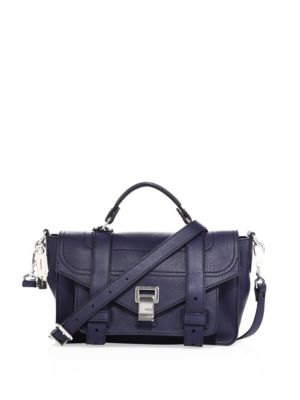 Proenza Schouler Ps1 Tiny Leather Satchel Geranium Black Indigo Ltr27