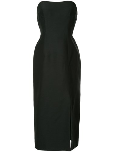 Alberta Ferretti Tube Cocktail Dress Silk Cotton Wool Black uXsKR