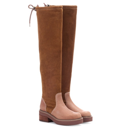 See by Chloe Suede Over The Knee Boots Brown 6Yt0oQ72w