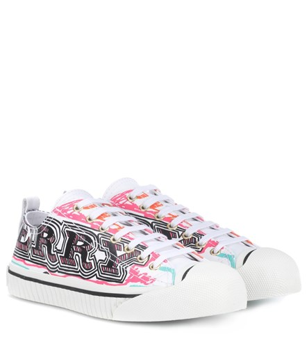 Burberry Doodle Printed Leather Sneakers White PBmnV