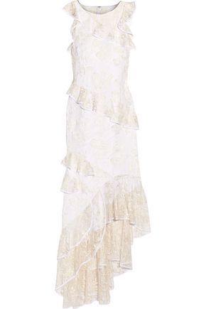 Sachin + Babi Prima Ruffled Lace Paneled Embroidered Tulle Gown White Z8SgouOnl